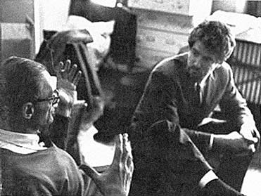 Arthur Miller and David Amram, at Miller's apartment  In Greenwich Village New York City, in the Fall of  1963, working on Amram's score for Miller's new play  After the Fall, before the opening at the ANTA theater for the Lincoln Center Theater in 1964.  - Click Here for More on Arthur Miller -