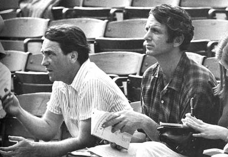 "Broadway producer Joseph Papp with David Amram, during rehearsals for ""King John"" at the Public Theatre, 1967 - Click Here To Learn More About Joe Papp. - Photo by Henry Grossman."