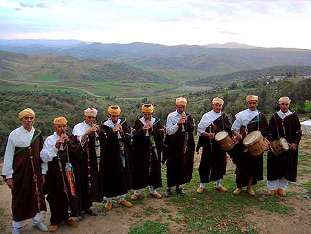 Master Musicians of Joujouka, Ahl Srif mountains, Northern Morocco - Photo by Frank Rynne.