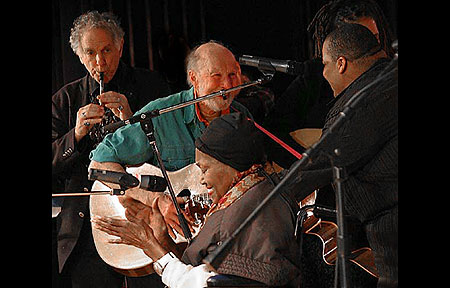 "David Amram, Pete Seeger, Odetta and Toshi Regan at the 2008 Clearwater Festival - David wrote a note for Pete and has been so kind to share his note. Click Here To Read David's ""To Pete on his 90th"" ."