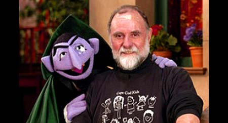 "Count von Count with Seame Street Muppeteer, Jerry Nelson - Click Here To Read Jerry's Sesame Stret 40th Anniversary Reflect, ""39 Years on A 40 Year Old Street."""
