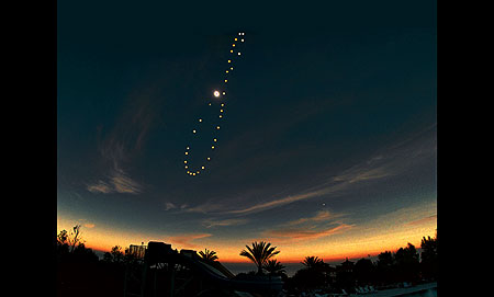 The Sun's yearly path as seen from Earth appears as a figure 8, known as an analemma - Click Here To Learn More About It!